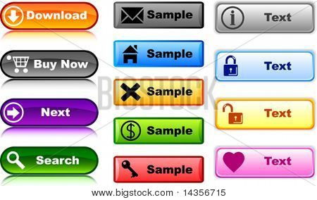 Buttons contains fill only. All curves are discoloured. Vector illustration.