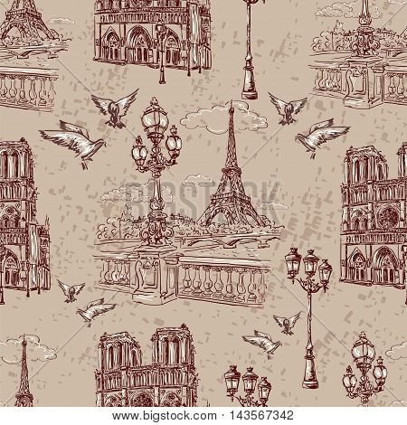 Seamless background Paris in retro style. The embankment River Seine Notre Dame lanterns and doves