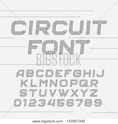 Circuit board font. Vector Alphabet. Digital hi-tech style oblique letters and numbers.