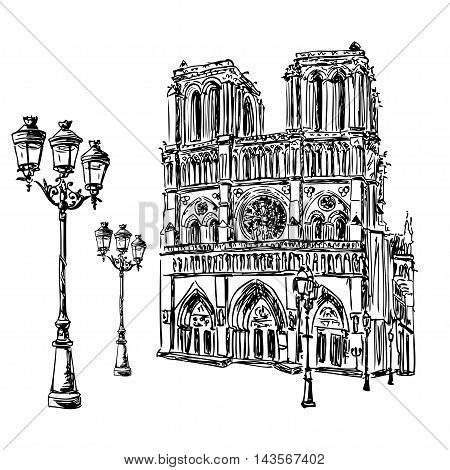 Notre Dame de Paris Cathedral and lantern France. Hand drawing sketch vector illustration of french travel landmark.