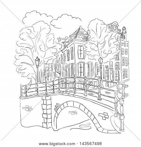 Vector coloring overlooking the waterfront of Amsterdam on a white background