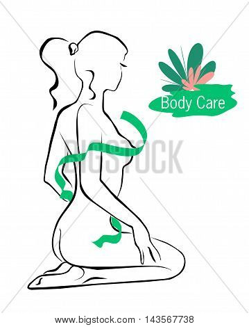vector illustration of a nude female nature is covered with tape on a white background with a logo on the care of the body