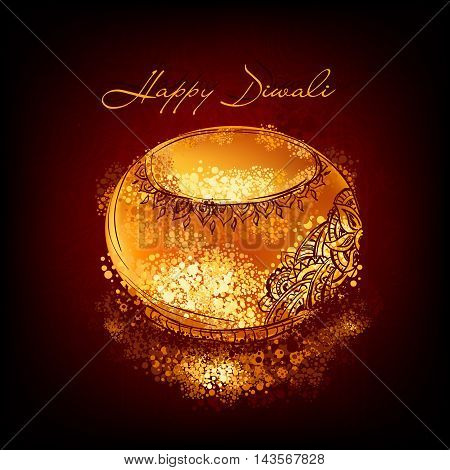 Vector illustration of burning diya on Diwali Holiday for Indian festival