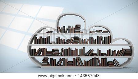 Digital image of shelf with books against digital image of pattern