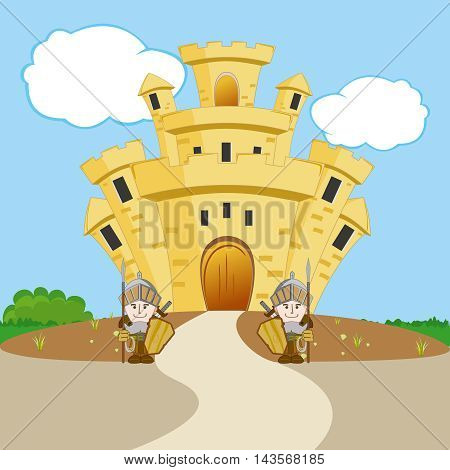 Two soldiers guarding the castle on the hill
