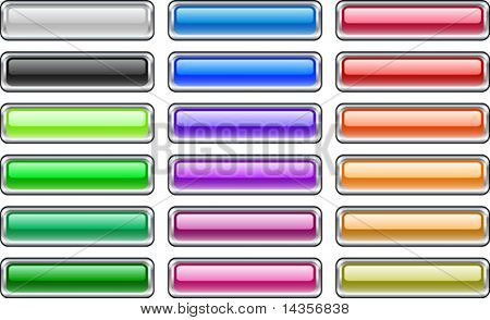 A lot of metal buttons. Vector illustration.