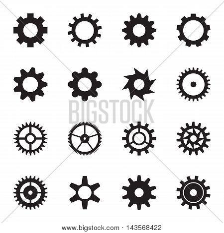 Cogwheel icon set isolated on a white background. Vector illustration