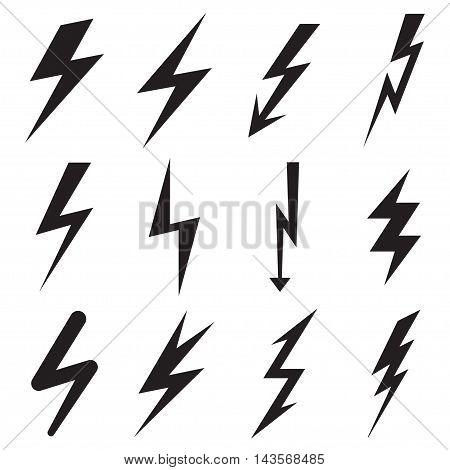 Set of twelve black lightning icons. Vector illustration