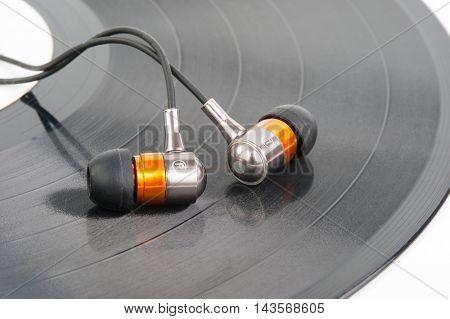 Vinyl record and Headphones