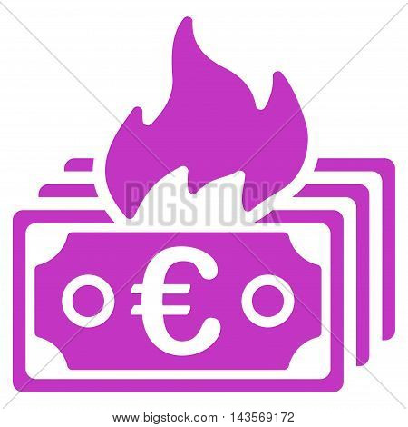 Burn Euro Banknotes icon. Vector style is flat iconic symbol with rounded angles, violet color, white background.