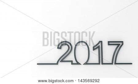 2017 New Year concept. Holiday Symbol. 3D illustration