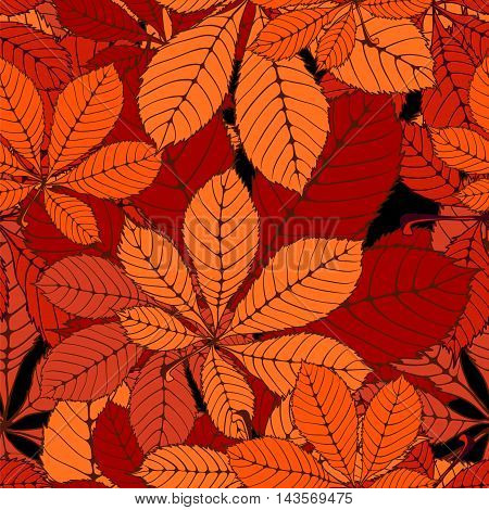 seamless randomly pattern made Isolated colored autumn chestnut leaves . vector illustration