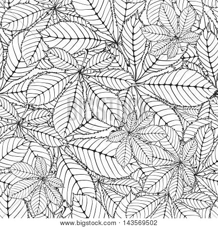 seamless pattern made Isolated skeletal chestnut leaf with veins. vector illustration