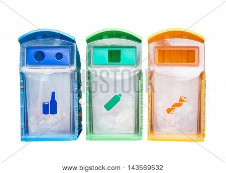 Colorful Recycle Bin For Garbage And Separate Type Object Isolated On White Background