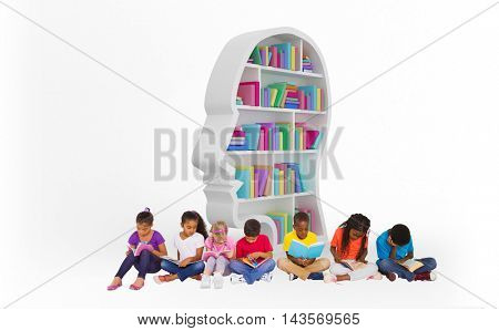 Elementary pupils reading books against colorful books in human face shape bookshelves