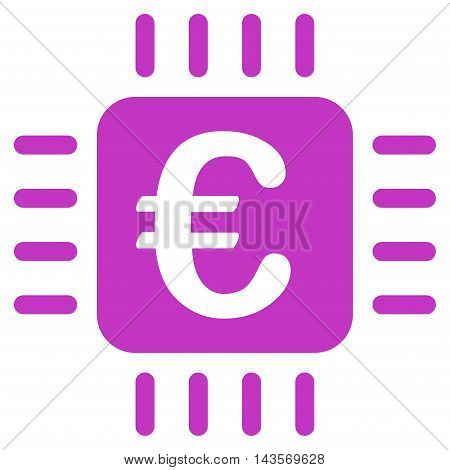 Euro Chip icon. Vector style is flat iconic symbol with rounded angles, violet color, white background.