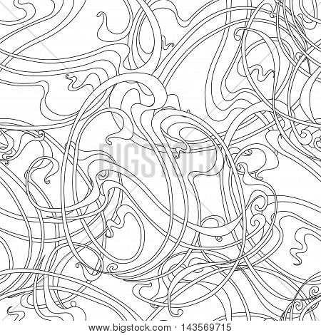 Abstract monochrome seamless pattern in the Art Nouveau style