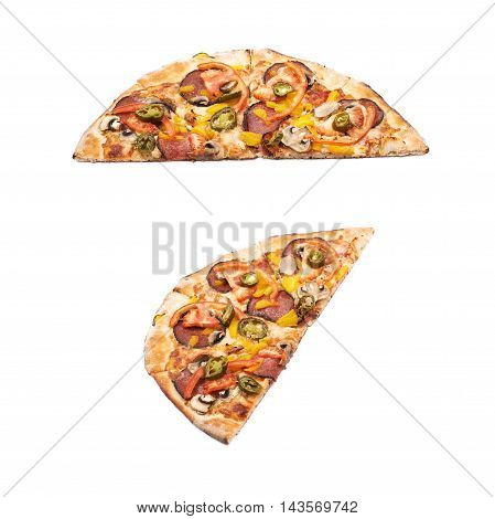 Half of a mexican pizza isolated over the white background, set of two different foreshortenings