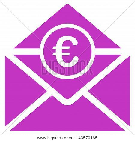 Euro Mail icon. Vector style is flat iconic symbol with rounded angles, violet color, white background.
