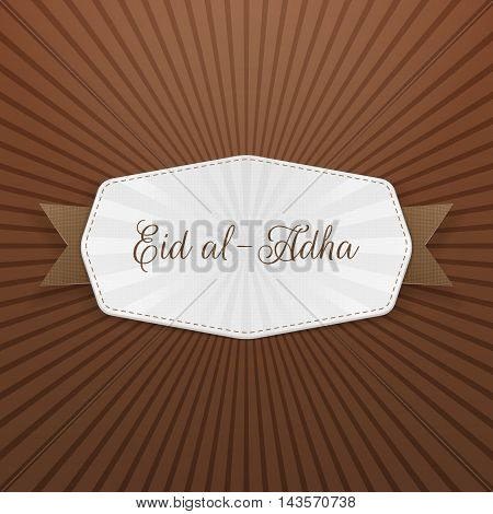 Eid al-Adha Badge with Text and Ribbon