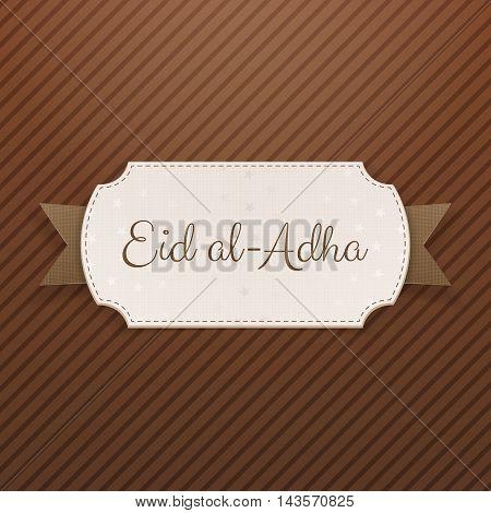 Eid al-Adha Text on greeting Label with Ribbon