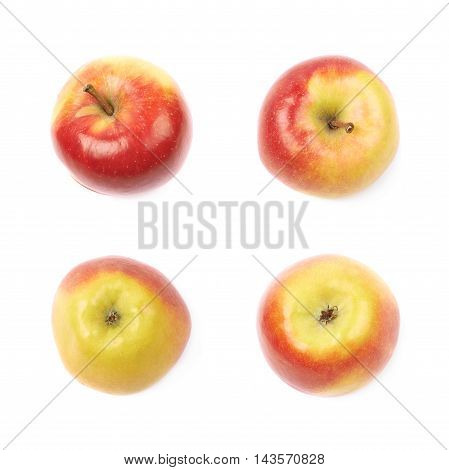 Single ripe red and golden jonagold apple isolated over the white background, set of four different foreshortenings