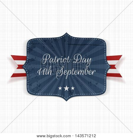 Patriot Day 11th September Label with Ribbon