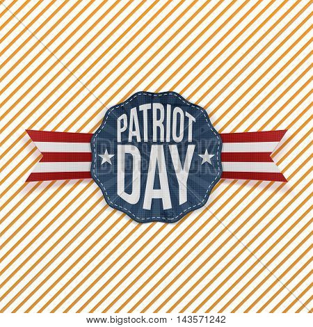 Patriot Day Text on festive Emblem with Ribbon