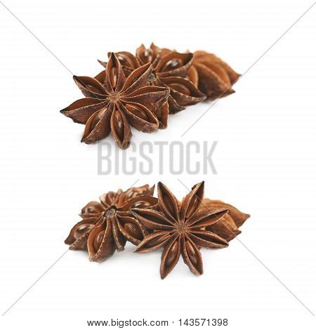 Pile of multiple Chinese star anise seeds, composition isolated over the white background, set of two different foreshortenings
