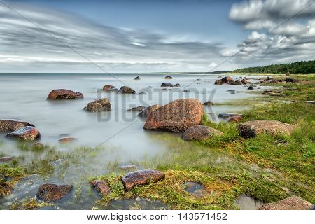 Baltic Sea captured with slow shutter speed in Estonian coast