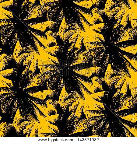 tropical seamless pattern - yellow palms on a black background