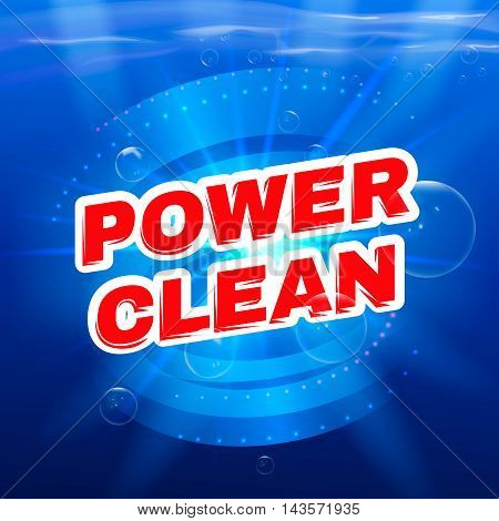 Detergent packaging vector template design. Power foam bathroom cleaner. Vector illustration.