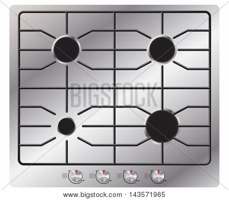 Gas stove with four burners. View from above. Isolated on white background. Realistic style. Vector Image.