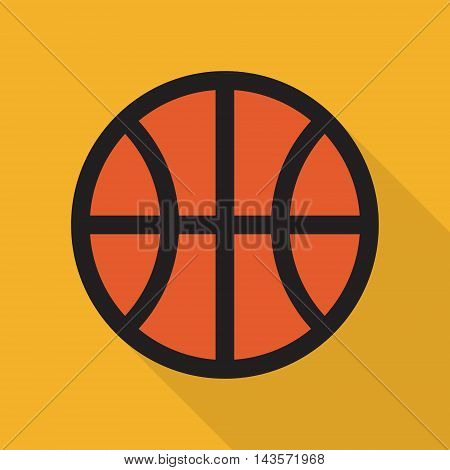 Basketball. Simple vector icon with shadow. Flat style.