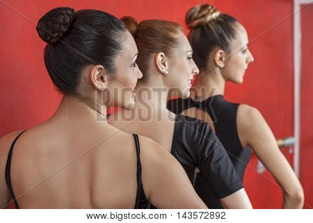 Rear View Of Ballerinas Performing In Row