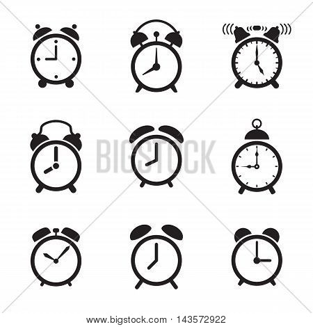 Alarm clock icons isolated on a white background. Vector illustration