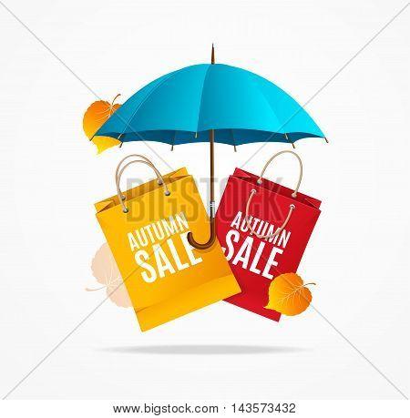 Autumn Sale Card. Special Seasonal Discounts. Vector illustration