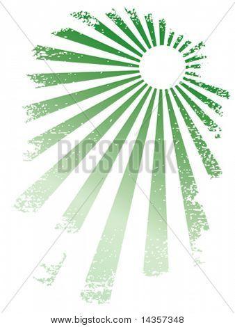Green rays. Grunge vector illustration.
