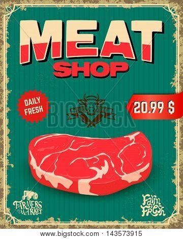fresh meat. butcher shop. Vintage Vector illustration.