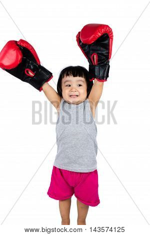 Asian Little Chinese Girl Wearing Boxing Glove
