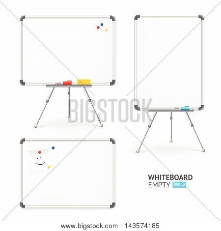 Whiteboard Set for Classroom and Office. Different View. Vector illustration