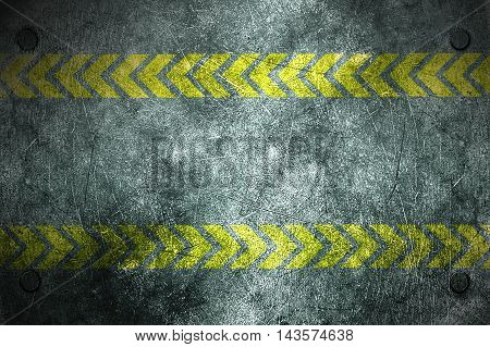 grunge metal background. rivet on metal plate and yellow line painted. danger zone material design 3d illustration.