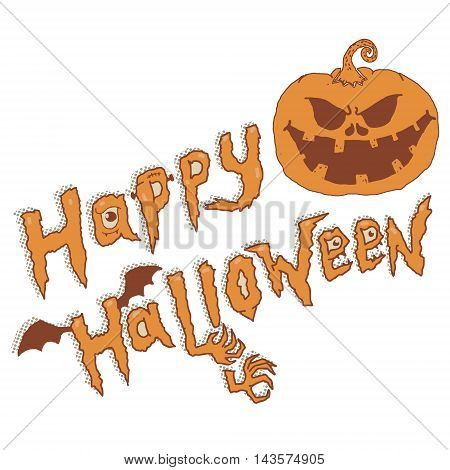 happy halloween. Evil Pumpkin isolated on white background. Vector illustration.