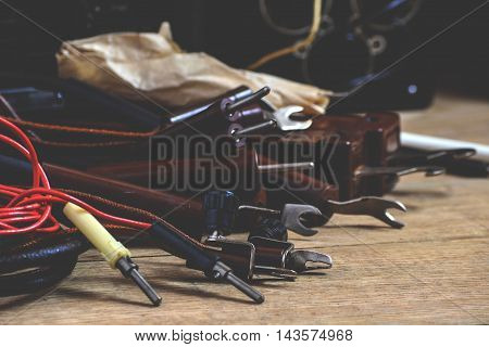 Old tester and other equipment for professional electrician