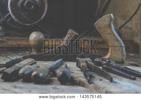 Set of old tools for the carpenter