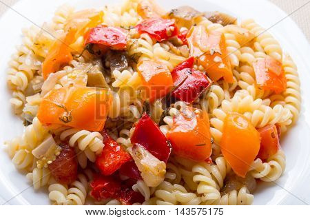 Italian Pasta Fusilli With Vegetable Ragout Of Peppers