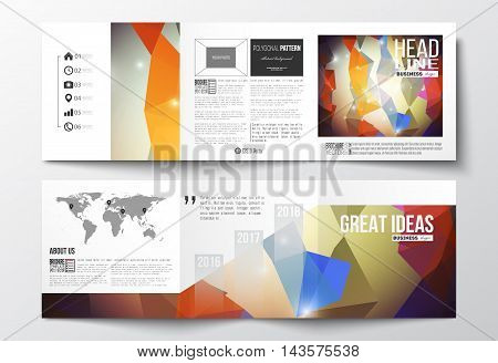 Vector set of tri-fold brochures, square design templates with element of world map. Abstract colorful polygonal background, modern stylish triangle vector texture.