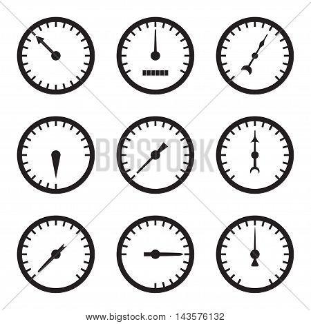 Set of black meter icons. Vector illustration