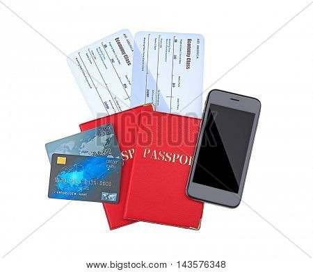 Credit cards with tickets isolated on white