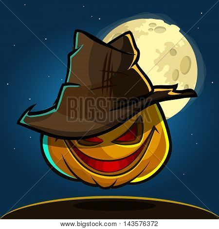 A vector illustration of cartoon Halloween pumpkin with hat isolated on dark night background with a big full moon behind